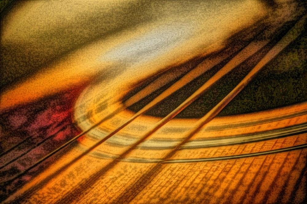 abstrakt, kunst, gitar, olje maleri, maleri