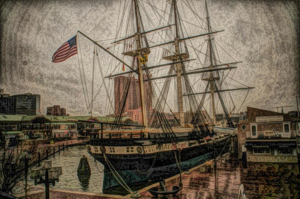 Art, peinture, motomarine, bateau, pirate, voilier, mât, port