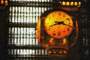 art, oil painting, picture, painting, clock