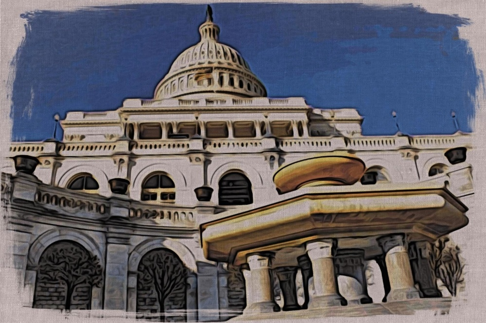 Art, peinture à l'huile, architecture, palais, dôme, ville