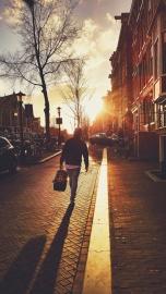 ulice, lidé, města, chodník, chůze, západ slunce, městské
