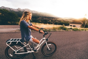 wheel, pretty girl, woman, asphalt, bicycle, blonde hair