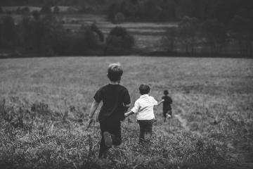 field, children, boy, monochrome