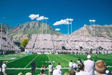 lidé, konkurence, stadion, obloha, ragby, sport, sportovec, dav