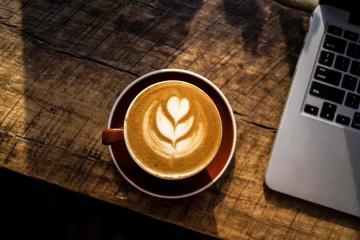 káva, pohár, espresso, nápoj, cappuccino, nápoj, prenosný počítač