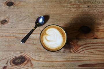 drevo, kancelária, káva, nápoj, Raňajky, šálka kávy, espresso, lyžice