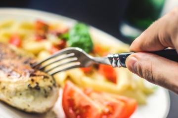hånd, gaffel, mad, middag, måltid, frokost, parabol, kød, restaurant, lækre