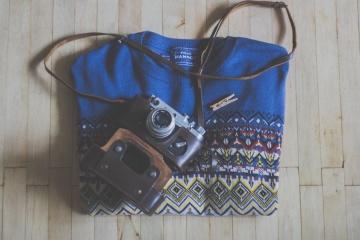Cámara de fotos, suéter, moda, viejo, equipo, elegante, viejo