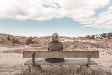 landscape, bench, man, old, nature, person, portrait