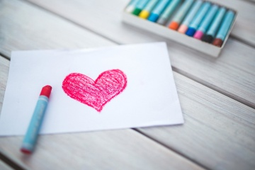 red, heart, crayon, design, paper, colorful, romance