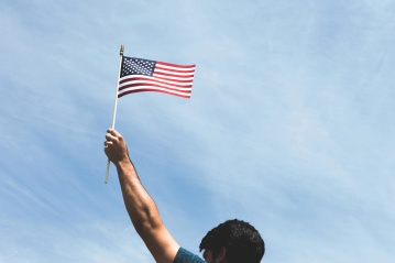 flag, patriotism, man, hand, blue sky, pride