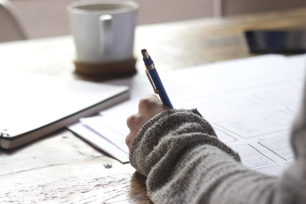 tabel, onderwijs, werk, potlood, papier, hand, office