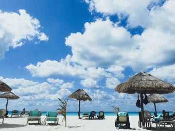 parasol, beach, water, sand, sun, exotic, sky, tropical beach, summer, tourism