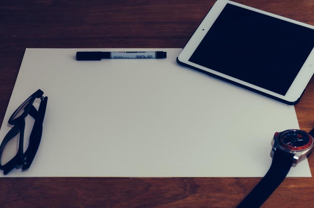 portable computer, eyeglasses, wristwatch, technology, internet, paper, pencil