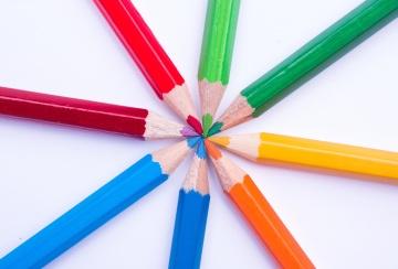 鉛筆、教育、クレヨン、色、カラフルな木製