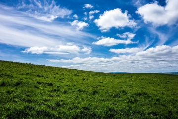 landscape, lawn, nature, green grass, sky, grassland, field, rural, hill