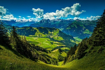 landscape, mountain, nature, wood, mountain peak, lawn, green grass, landscape