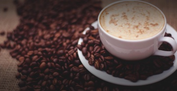 Café, caféine, boisson, expresso, grain de café, cappuccino, aube, sombre
