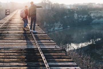landscape, bridge, people, men, recreation, road, boy