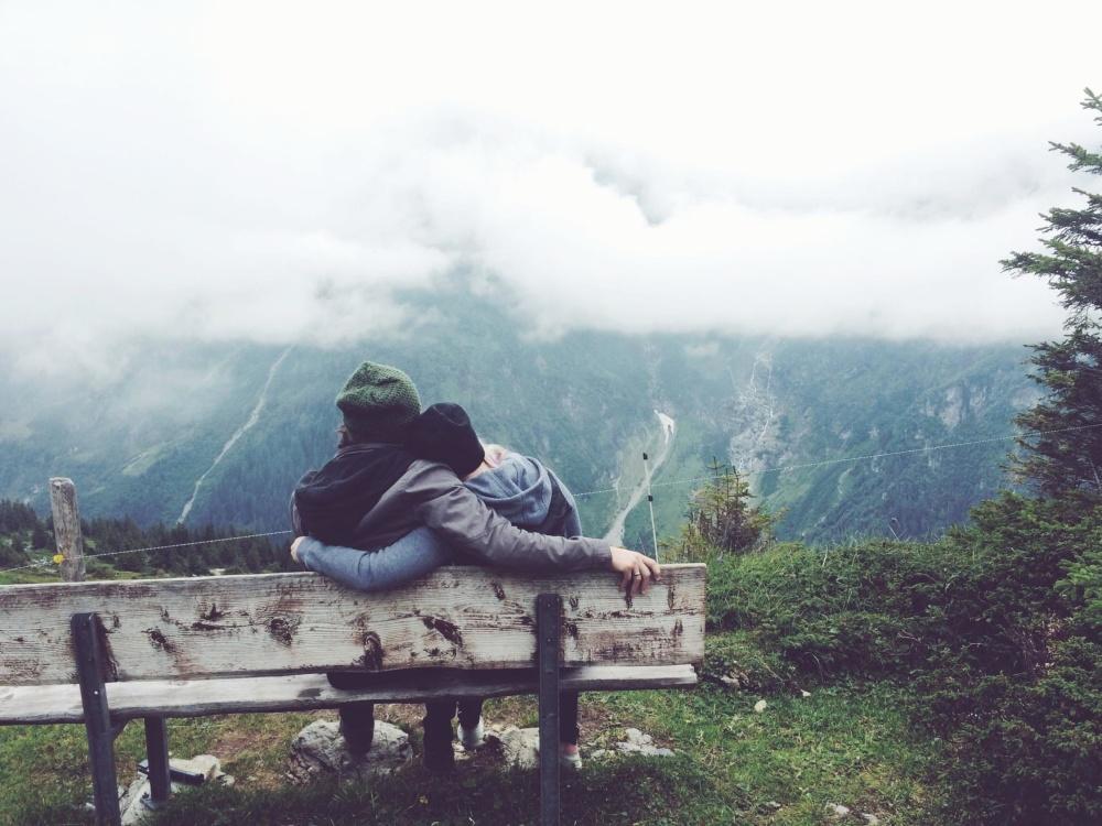 góry, chłopak, Dziewczyna, ludzie, natura, krajobraz