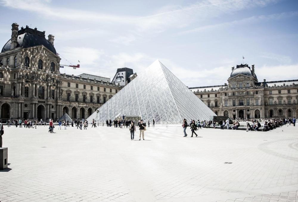 Downtown, Paris, by, crowd, street, vartegn, museum, arkitektur, sky