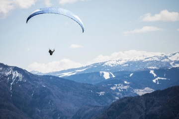 extreme sport, sport, paraglider, mountain, snow, high, sky, parachute, air, adventure, mountain peak