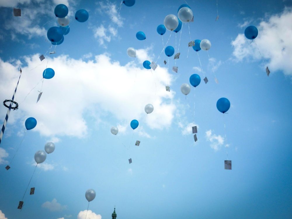 air, blue sky, cloud, balloon, message