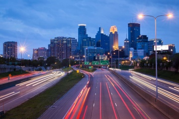 traffic, downtown, highway, city, road, car, street, dusk, asphalt