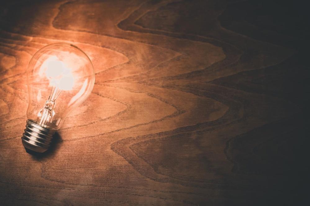 light bulb, wood, light, electricity