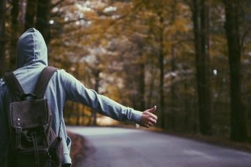 osoba, asfalt, road, ręka, palec, mężczyzna, człowiek