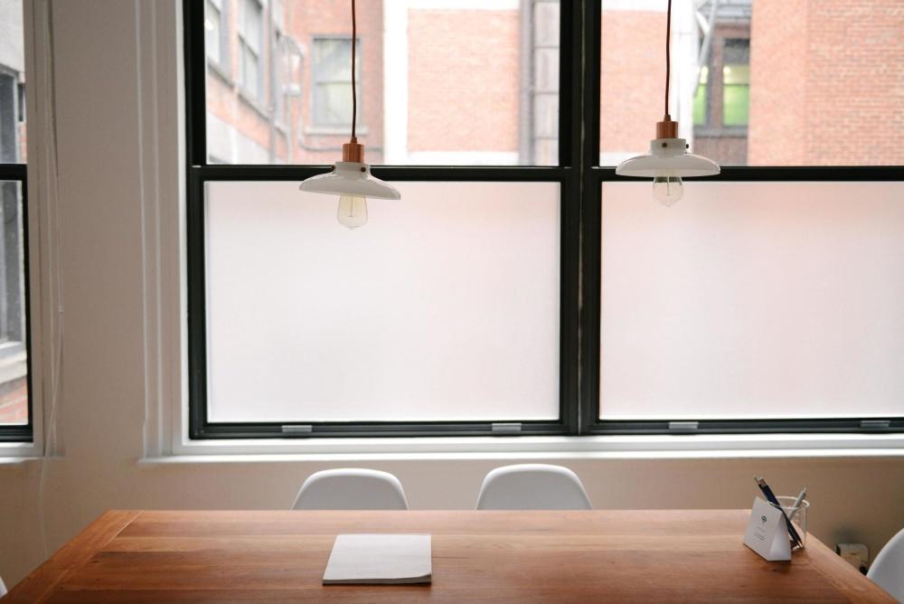 chair, window, indoors, room, furniture, desk, office, lamp