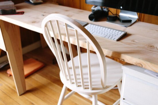 furniture, table, chair, wood, interior, computer keyboard, workplace, office