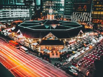 road, city, car, traffic, vehicle, downtown, illuminated, structure, landmark, urban, cityscape