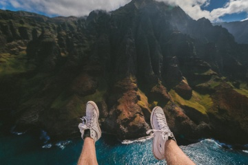 water, landscape, leg, sneakers, fashion, mountain, daylight, nature, exploration
