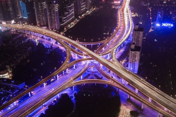 light, road, traffic, highway, dusk, downtown, illuminated, speed, fast, architecture, city