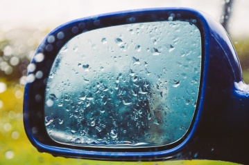Humide, froid, miroir, rosée, pluie, voiture