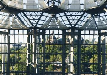 Ventana, arquitectura, moderno, construcción, dentro, acero, cielo, urbano, contemporáneo, futurista, casa