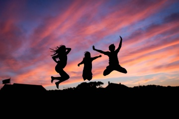 sunset, silhouette, backlit, sky, people, jump, dusk, evening