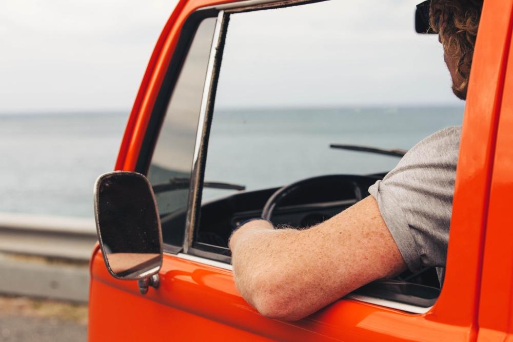 Été, véhicule, voiture, eau, mer, plage, homme