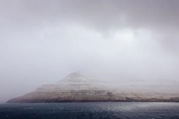 landscape, water, mountain, fog, sea, ocean, sky, mist, island