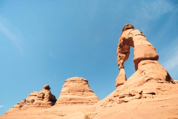 Désert, grès, ciel, paysage, lumière du jour, géologie, sec, désert, repère, canyon