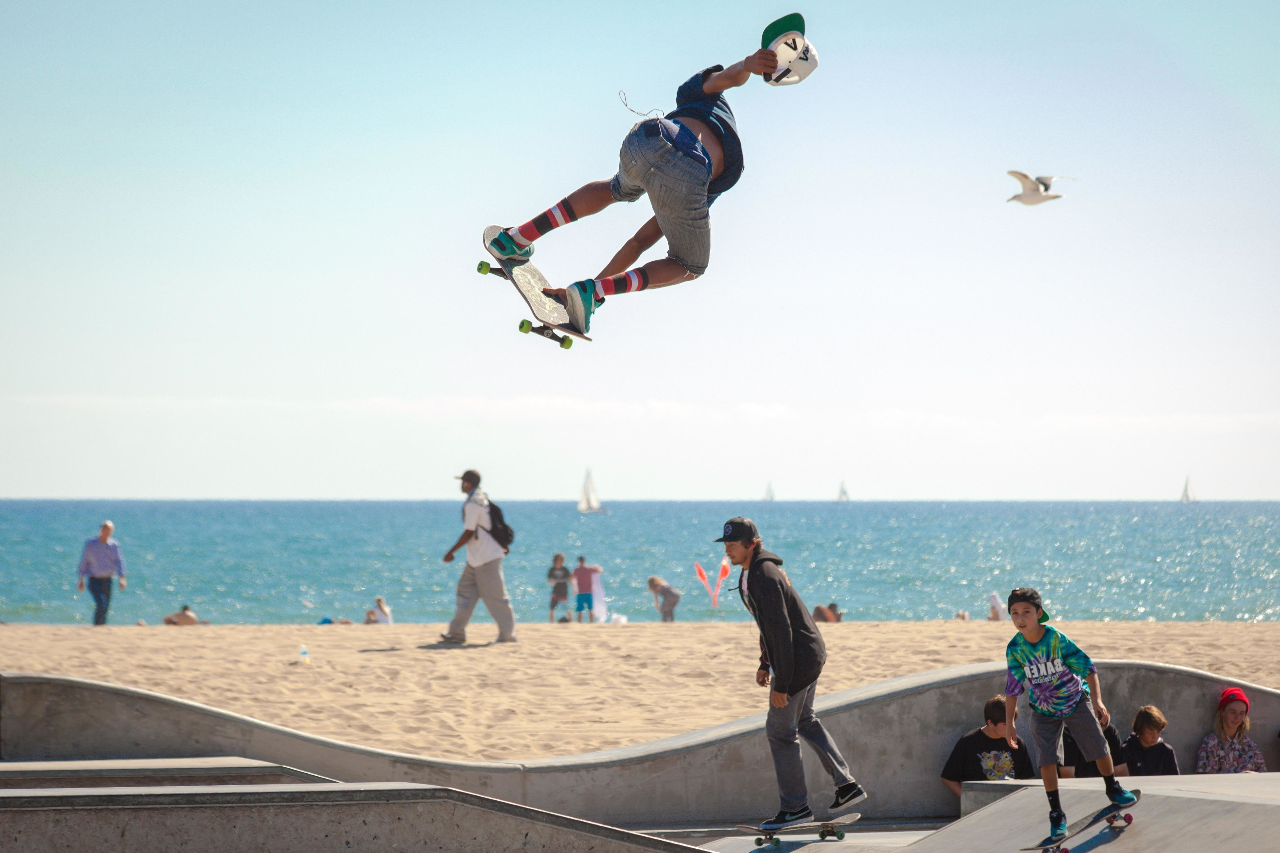 free picture jump extreme sport skateboard lifestyle sea beach