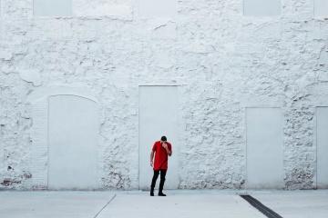 Strada, parete, urbano, uomo, bianco, esterno, asfalto