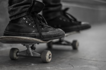 skate, footwear, shoe, monochrome, asphalt, leather, skateboard
