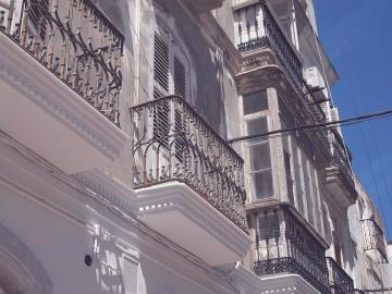 Balcone, esterno, costruzione, facciata, architettura, città, centro città, urbano
