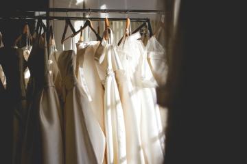 Mode, blanchisserie, robe de mariée, boutique, robe
