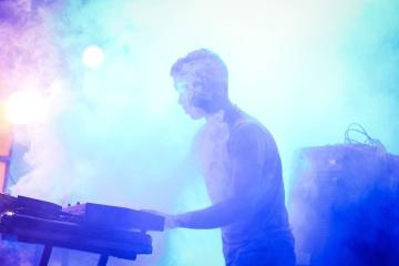 Concierto, música, rendimiento, músico, festival, humo