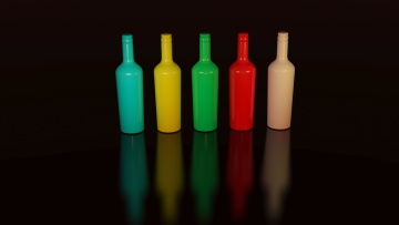 plastic, bottle, dark, shadow, object, colorful
