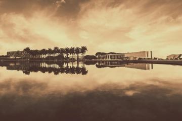Dawn, západ slnka, vody, neba, reflexie, slnko, jazero, sépia