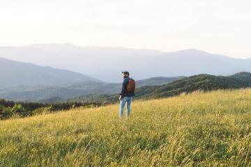 пейзаж, природа, трева, небе, човек, ливада, хълм, мъгла